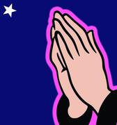 Hands in prayer on evening blue background Stock Illustration