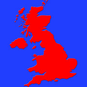 Map of great britain in red on blue Stock Illustration