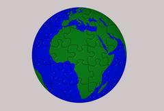 Globe blue green puzzle Stock Illustration