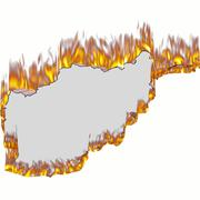 Map of afghanistan on fire Stock Illustration