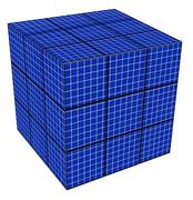 blue grid cube - stock illustration