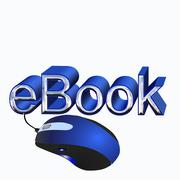 Ebook text with mouse in blue Stock Illustration