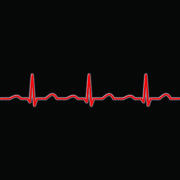 Ecg waves in red on a black background Stock Illustration