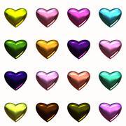 Metalic heart set Stock Illustration