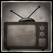 old black and white television photo - stock illustration