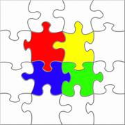 Colorful puzzle assembly Stock Illustration