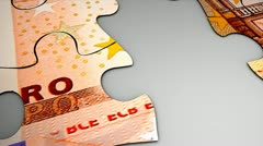 Euro bank note puzzle concept animation. Stock Footage