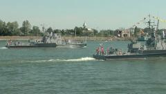 Military vessels on the river Stock Footage