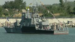 Military vessel on the river Stock Footage