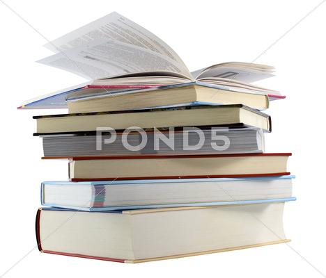 Stock photo of pile of books isolated on a white background