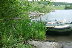 Raft In Small Lake With Wildflowers - stock photo