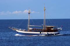 Stock Photo of old huge sailing boat at blue sea