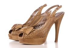 brown high heel women shoes - stock photo