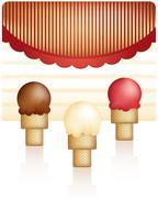 Three Ice Cream Cones - stock illustration