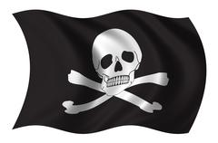 Pirate Jolly Roger Flag - stock illustration