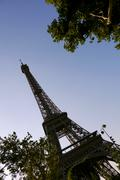 eiffel tower low angle with trees - stock photo