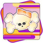 Girly Skull & Crossbones Illustration - stock illustration