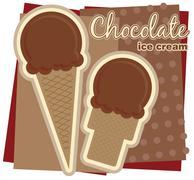 Chocolate Ice Cream Illustration Stock Illustration