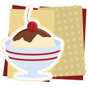 Ice Cream Sundae Illustration - stock illustration