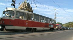 Tram at the Legion Bridge Stock Footage