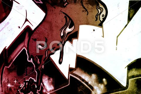 Stock Illustration of graffiti over old dirty wall, urban hip hop background gray texture painted w