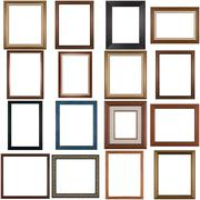 set of wooden frames - stock photo