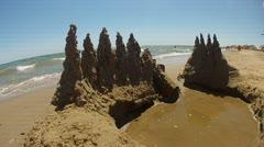 Sand Castle on the beach Stock Footage