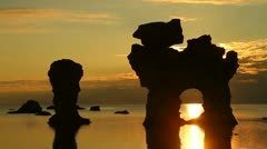 Rauks - seastacks in Gotland, Sweden Stock Footage
