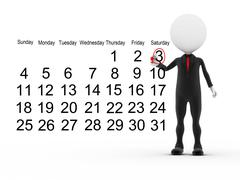 3d businessman with busy calendar schedule - stock illustration