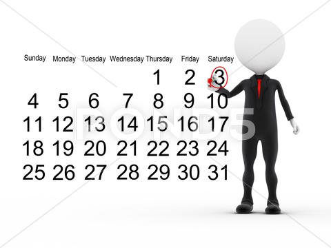 Stock Illustration of 3d businessman with busy calendar schedule