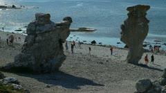 Rauks - seastacks in Langhammar, Gotland Stock Footage