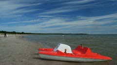 Beach, paddle-boat Stock Footage