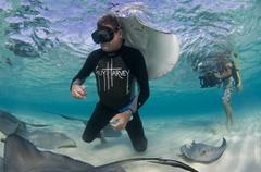 Shot of Guy Harvey with Rays and Videographer Taking Footage - stock photo