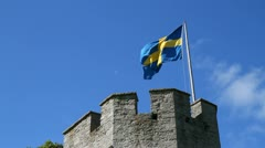 Visby Hanseatic wall Stock Footage