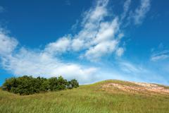 Beautiful summer landscape with forest, meadow and a hill against a saturated - stock photo