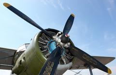 Aircraft propeller against a blue sky Stock Photos
