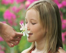 Girl with a flower in her hair Stock Footage