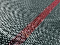 abstracr silver metal surface with marked red line, industry - stock photo