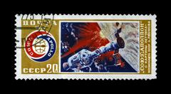 ussr-circa 1975:stamp printed in ussr, international flight of soyuz and apollo - stock photo