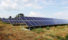 Solar panels at a solar power plant Stock Photos