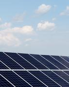 Solar panels at a solar power plant Stock Photos