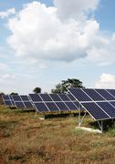 Stock Photo of solar panels at a solar power plant