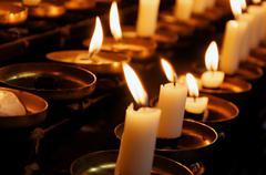 prayer candles closeup - stock photo