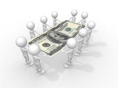 crowd of people holding one hundred dollar - stock illustration