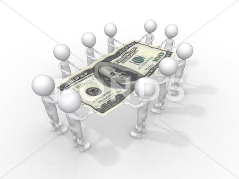 Stock Illustration of crowd of people holding one hundred dollar