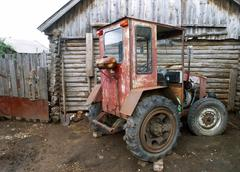 An old homemade agricultural wheel tractor Stock Photos