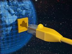 A ethernet connected globe. 3d rendered illustration. Stock Illustration