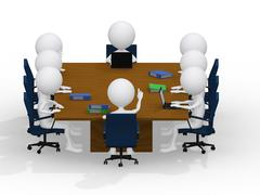 business group meeting portrait - eight business people working together. a d - stock illustration