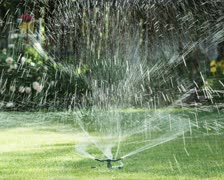 Sprinkler on the lawn Stock Footage