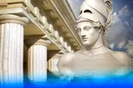 Stock Illustration of greek sculpture of the general pericles, greek art reflected in a calm sea.